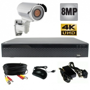 8Mp Single Camera CCTV Kit with White Varifocal Camera